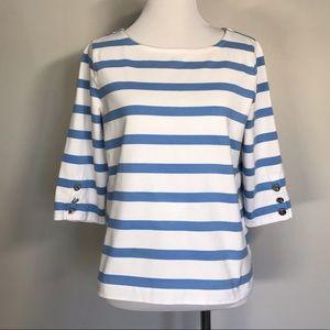 Ralph Lauren Light Blue and White Stripe Top
